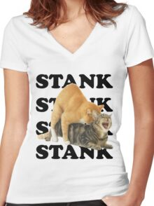 STANK CAT SEX SWAGGIN ASS SHIRT AIGHT Women's Fitted V-Neck T-Shirt