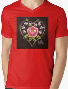 Heart and Rose Mens V-Neck T-Shirt