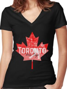Toronto Blue Jays Canada Women's Fitted V-Neck T-Shirt
