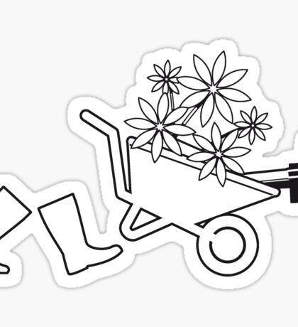 Garden boots wheelbarrow gardening Sticker