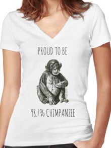 PROUD TO BE 98.7% CHIMPANZEE Women's Fitted V-Neck T-Shirt