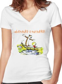 Calvin and Hobbes' Wonderful Adventure Women's Fitted V-Neck T-Shirt
