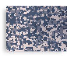 Blue Pixel Camouflage Pattern Canvas Print
