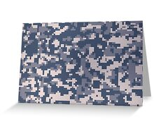 Blue Pixel Camouflage Pattern Greeting Card