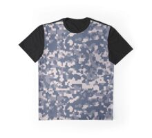 Blue Pixel Camouflage Pattern Graphic T-Shirt