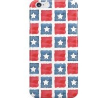 Red White & Blue Blocks with Stars  iPhone Case/Skin