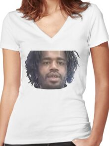 Death Grips - MC Ride (Noided Face) Women's Fitted V-Neck T-Shirt