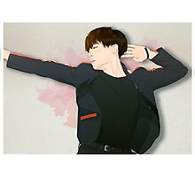 BTS J-Hope on Stage  - Watercolor Brush Backgorund Photographic Print