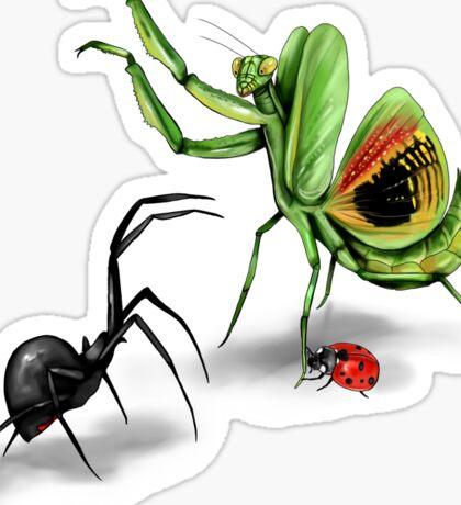 Praying Mantis Vs Black Widow Sticker