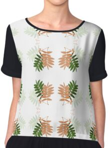 Leaves and Branshes Pattern Chiffon Top