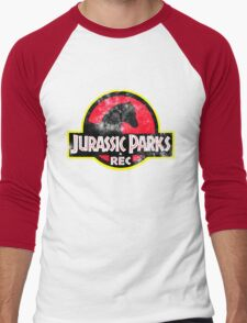 Jurassic Parks and Rec Distressed  Men's Baseball ¾ T-Shirt