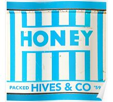 1950s Blue and White Striped Honey Tin Label Poster