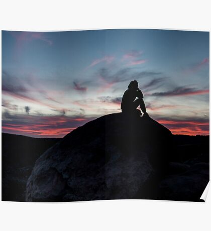 contemplative desert sunset Poster