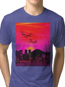 80's city helicopters sunset Tri-blend T-Shirt