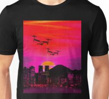 80's city helicopters sunset Unisex T-Shirt