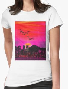80's city helicopters sunset Womens Fitted T-Shirt