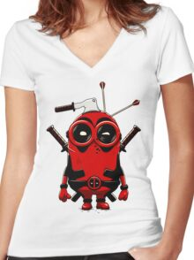 Minipool Funny Minion Women's Fitted V-Neck T-Shirt