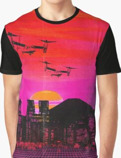80's city helicopters sunset Graphic T-Shirt