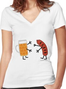 Beer & Bratwurst - Funny Friendly Foods Women's Fitted V-Neck T-Shirt