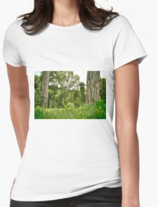 Spring natural image with green tress and grass. Park Womens Fitted T-Shirt