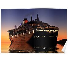 Queen Mary II leaving Fremantle port, Western Australia Poster