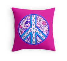 Circle of Peace Tangle With Colours Var 8 Throw Pillow