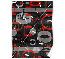 Red Black Grey Vector Pattern Poster