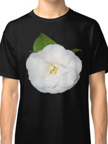 White Camellia flower with green leaf. Classic T-Shirt