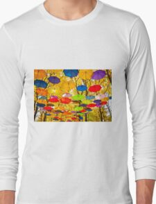 autumn umbrellas in the sky Long Sleeve T-Shirt