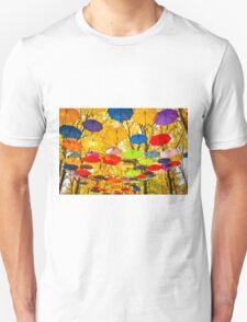 autumn umbrellas in the sky Unisex T-Shirt