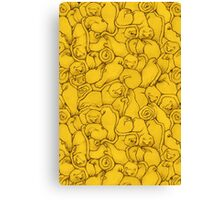 Sleepy House Animal Pattern - yellow and black Canvas Print