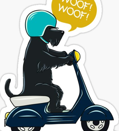 Scottish terrier riding a scooter Sticker