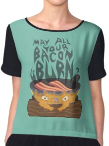 May All Your Bacon Burn Chiffon Top