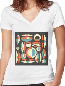 Retro Eames Era  Pisces Women's Fitted V-Neck T-Shirt