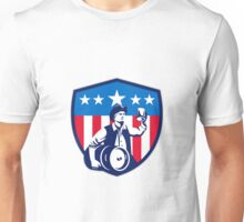 American Patriot Beer Keg Flag Crest Retro Unisex T-Shirt