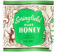 1950s Bear in Forest Illustration Honey Tin Poster