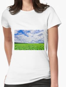 young green grass on a sunny spring day Womens Fitted T-Shirt