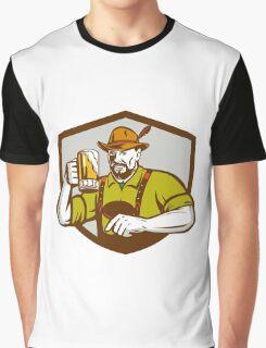 Oktoberfest Bavarian Beer Drinker Shield Retro Graphic T-Shirt