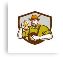 Oktoberfest Bavarian Beer Drinker Shield Retro Canvas Print