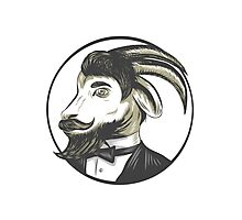 Goat Beard Tie Tuxedo Circle Drawing Photographic Print