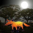 Ginger Fox in the Moonlight.Humor. by Mary Taylor