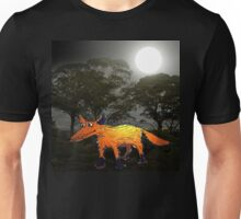 Ginger Fox in the Moonlight.Humor. Unisex T-Shirt