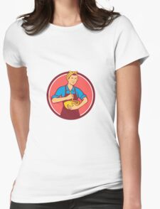Housewife Cook Bandana Mixing Bowl Circle Retro Womens Fitted T-Shirt