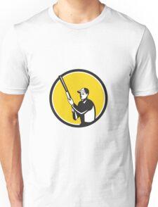 Hunter Holding Shotgun Rifle Circle Retro Unisex T-Shirt