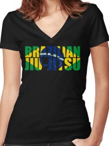 Brazilian Jiu Jitsu Flag (BJJ) Women's Fitted V-Neck T-Shirt