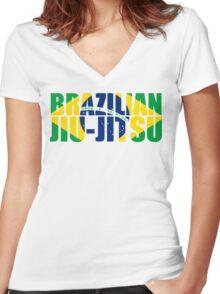 Brazilian Jiu Jitsu Flag (BJJ) Women's Fitted V-Neck T-Shirt