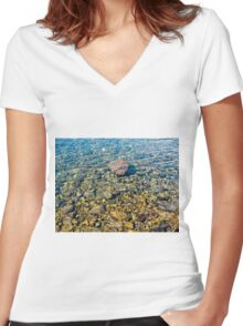 Clear water forest lake Women's Fitted V-Neck T-Shirt