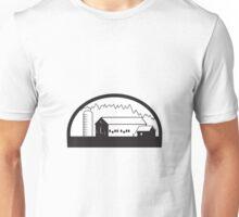 Farm Barn House Silo Black and White Unisex T-Shirt