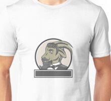 Goat Beard Head Circle Woodcut Unisex T-Shirt