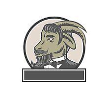 Goat Beard Head Circle Woodcut Photographic Print